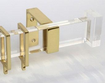 Rectangular Rings For Lucite Curtain Rod Brass Nickel