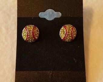 Rhinestone Softball Stud Earrings