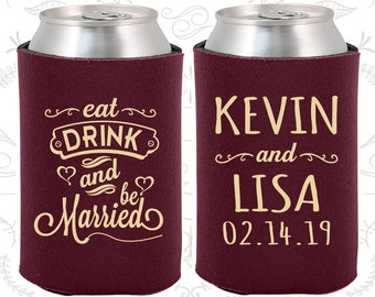 Eat Drink and Be Married Wedding Gift, Unique Wedding Gift, Heart, Wedding Can Coolers (239)
