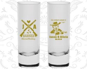 Shotgun Wedding Shooters, Customized Shooter Glass, Country Wedding Shooters, Redneck Wedding Shooters, Tall Shot Glass (563)