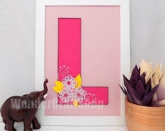 nursery wall art, framed nursery letter, nursery L letter, baby girl letter, baby girl nursery wall art, nursery letter, nursery decor