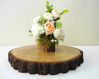 "9.5""-11"" Wood Slice, Cake Stand, Centerpiece, Bark Wood Slice, Oak Wood Cake Stand, Wedding Cake Stand, Rustic Decor, 10 inch"