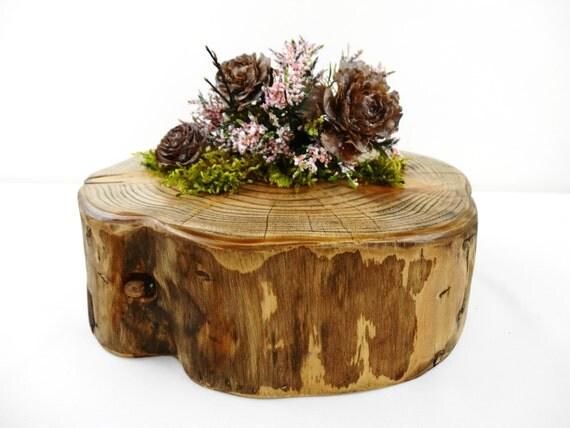 Rustic wood slab charger slice