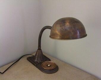 Antique Bronze and Copper Lamp