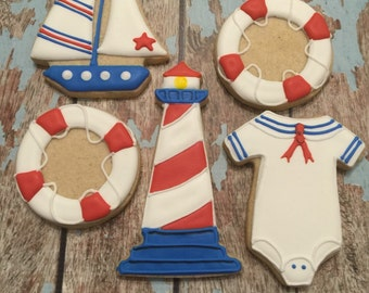 Nautical cookies - other shapes available - 1 Dozen