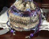 Hand Spun Crocheted Draw String Bag with Turtles