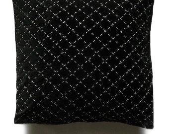 black velvet hand stitched pillow