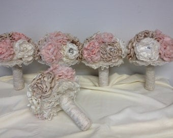 Bridesmaids vintage bouquets with brooches and lace and pearls