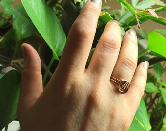 Copper Large Rosette Flower Bud Wire Wrap Ring - Size 7.5