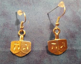 Dreidel Earrings - Silver Tone