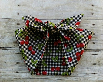 EXTRA WIDE Gingham cherries headband bandana top knot hair bow