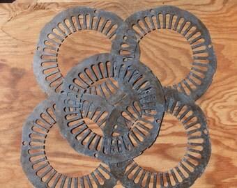 5 Wonderful Uniquely Shaped discs - round -assemblage, steampunk supplies, craft supplies