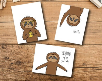 Note Card Set - Sloth Note Cards - Blank Note Card Set - Cute Note Cards