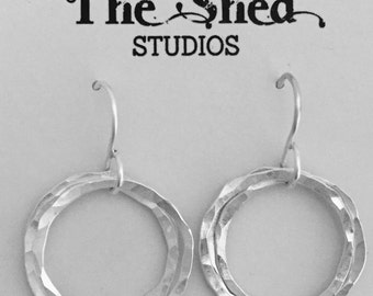 Silver Hoop Earrings, Hammered Silver Earrings, Multiple Hoop Earrings