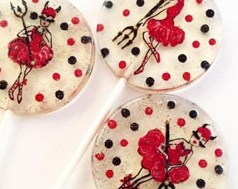 3 Red Hot Devil Ballerina Lollipops
