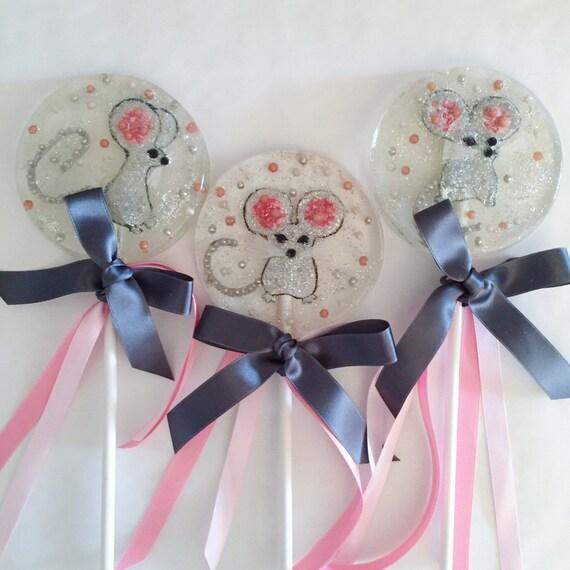 3 XL Fancy Glittering Marzipan Mice Lollipops