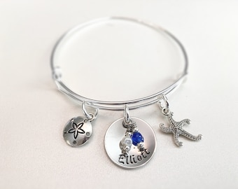 Personalized Beach Bangle Handstamped Starfish Sanddollar charms bead dangles of choice