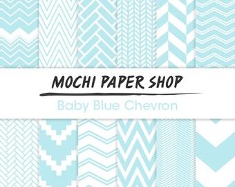 Baby Blue Chevron Paper Download, Blue Craft Paper, 12 Digital Chevron Designs, Blue Zig Zag, Blue Backgrounds, Blue Chevron PNG Files