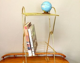 Mid-Century Gold Wire Stand, Telephone Stand, Plant Stand