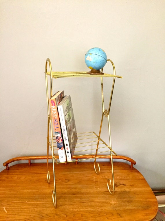 mid century gold wire stand telephone stand plant stand. Black Bedroom Furniture Sets. Home Design Ideas