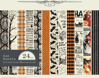 "AUTHENTIQUE Mysterious Collection, Paper Crafting Kit, 24 sheets, 6"" X 6"" paper pad, Halloween Scrapbook and Papercraft"