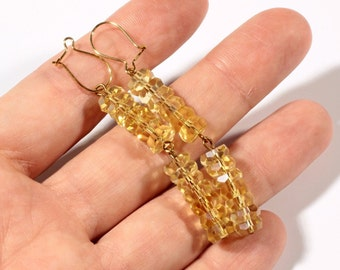 Pair Bohemian jonquil yellow rondelle facet Preciosa glass beaded hook earrings 4-119