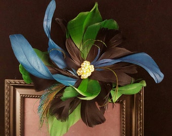 Royal Blue and Kelly Green Fascinator