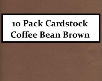 """10 Pack Cardstock Paper 8.5"""" X 11"""" Coffee Bean Brown"""