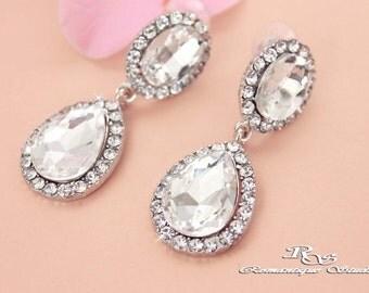 Crystal wedding jewelry drop earrings Rhinestone bridal dangle earrings Crystal earrings Bridesmaid earrings jewelry Bridal jewelry 1356