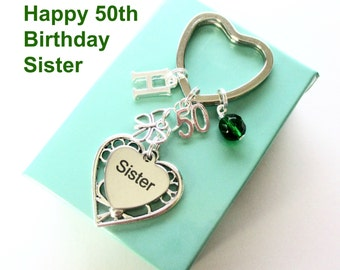 50th birthday gift for Sister - Personalised Sister keyring - Butterfly keyring - Gift for Sister - 50th keyring - Sister birthday - UK