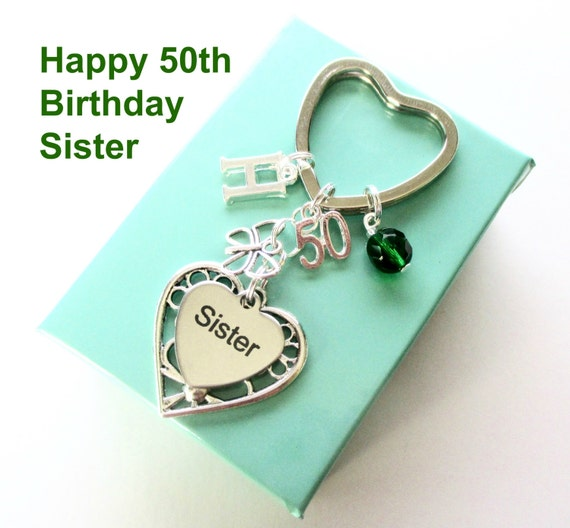 50th Birthday Gift For Sister Personalised Sister Keyring