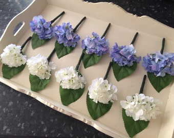Artificial stunning hydrangea button holes Boutonniere grooms men's wedding flowers matching bouquets & centrepieces available