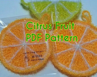 Citrus Scrubby Pattern - Citrus Fruit Crochet PDF Pattern- diy orange, lemon, lime, grapefruit, tangerine