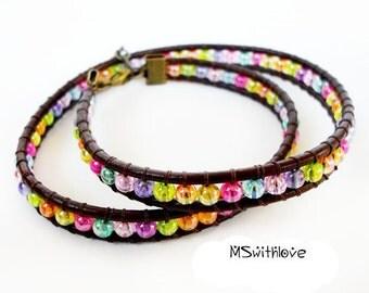 Brown leather wrap bracelet, Boho colorful wrap bracelet, Beaded wrap bracelet, Bohemian bracelet, Leather woman bracelet