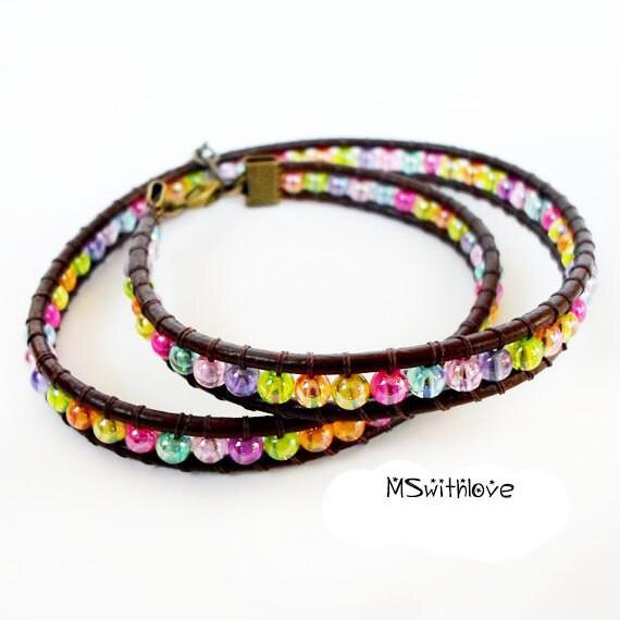 brown leather wrap bracelet boho colorful wrap bracelet