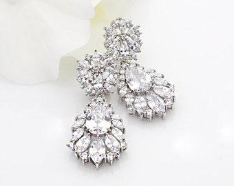 ALLIE - Wedding Earrings, Chandelier Bridal Earrings, Vintage Wedding, Crystal Earrings, Bridal Jewelry, Cubic Zirconia