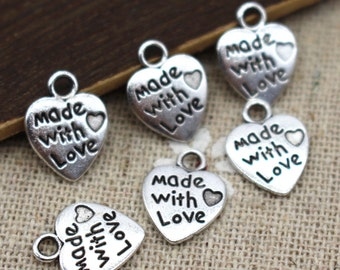 20 x Made With Love 12mm Silver Heart Charm Pendant. Ideal for Arts, Crafts, Jewellery Making &  Accessories