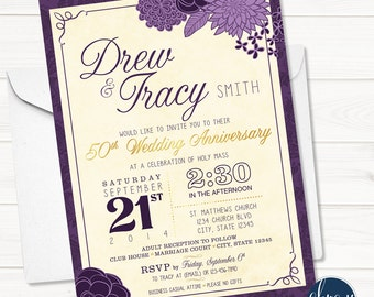 Floral Wedding - Floral Anniversary - Bridal Shower - Birthday - Rustic - 40th - 50th - 60th - 75th - Printable Invitation - Digital File