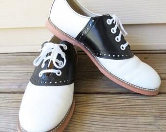 Vintage 1950s Saddle Shoes Leather Oxford Shoes  BILTRITE White & Black Size 7B Excellent condition