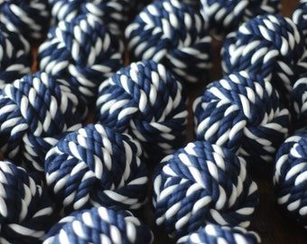 Nautical Wedding - Nautical Decor - Navy and White Cotton Rope - Nautical Wedding Table Decor - Rope Knots - (this is per knot)