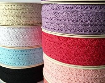 5 metres of 10mm Crotchet Cotton Scalloped Lace - 9 colours to choose from