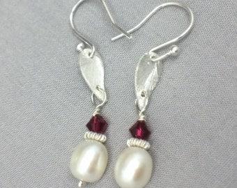 Pearl & Ruby Red Swarovski Earrings, Sterling Silver Earrings, White Pearl Long Earrings, Ruby Swarovski Chrystal Earrings, July Birthstone