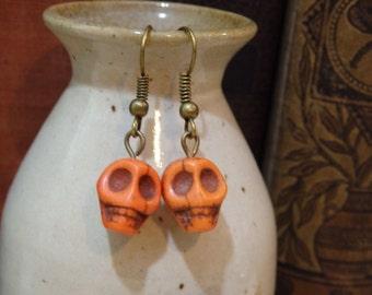 Orange Stone Skull Earrings