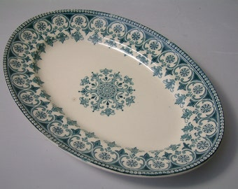 Antique french ironstone teal green transferware oval platter. Teal green transferware. French transferware. Christmas serving platter