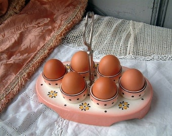 French art deco egg service presentation platter with handle. Breakfast service Soft boiled egg service. Pink and black. French Cottage chic