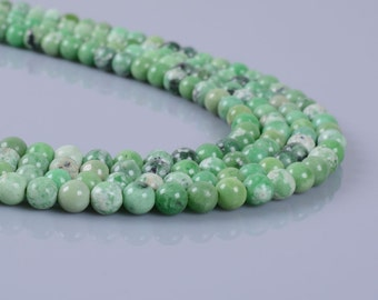 4MM364 4mm Grass turquoise round ball loose gemstone beads 16""