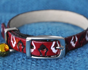 ME Selection Exotic Red Leather Cat Collar