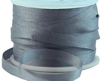 11 Yds (10 M) Embroidery Silk Ribbon 100% Silk 4mm - Grey - By Threadart