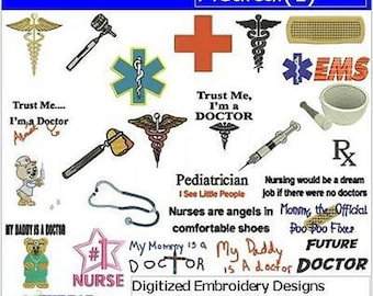 Embroidery Design CD - Medical(1) - 25 Designs - 9 Formats - Threadart