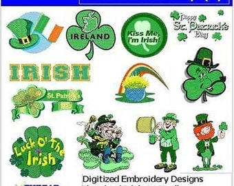 Embroidery Design CD - St Patricks Day (1) - 12 Designs - 9 Formats - Threadart